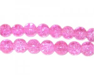 8mm Pink Round Crackle Glass Bead, approx. 55 beads