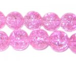 "12mm Pink Crackle Bead, 8"" string, approx. 18 beads"