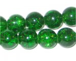 12mm Dark Green Crackle Glass Bead, approx. 18 beads