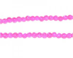 4mm Bubblegum Round Crackle Glass Bead, approx. 105 beads