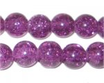 "12mm Plum Crackle Bead, 8"" string, approx. 18 beads"