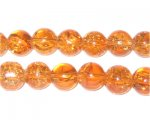 "10mm Peach Crackle Bead, 8"" string, approx. 21 beads"