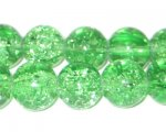 "12mm Light Green Round Crackle Bead, 8"" string, approx. 18 beads"