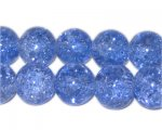 "12mm Dark Sky Blue Round Crackle Glass Bead, 8"" string"