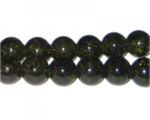 12mm Olive Green Crackle Glass Bead, approx. 18 beads