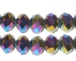 8 x 10mm Black Luster Rondelle Crystal Bead, 15 beads