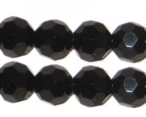 12mm Black Faceted Round Crystal Bead - 8 Beads