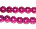 "10mm Drizzled Fuchsia Glass Bead, 8"" string, approx. 22 beads"