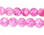 10mm Marbled Pink Coated Glass Bead, approx. 22 beads