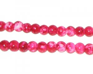 6mm Marble-Style Fuchsia Glass Bead, approx. 72 beads