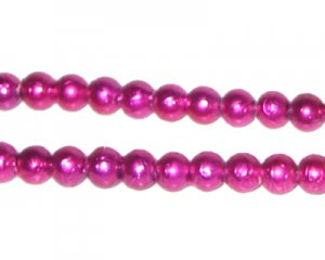 6mm Drizzled Fuchsia Glass Bead, approx. 72 beads