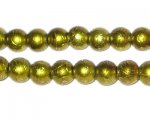 8mm Drizzled Dark Apple Green Bead, approx. 52 beads