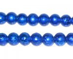 8mm Drizzled Blue Glass Bead, approx. 52 beads