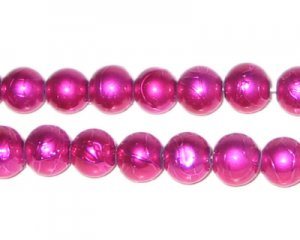 8mm Drizzled Fuchsia Bead, approx. 52 beads