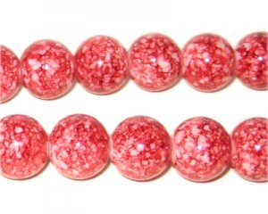 "12mm Marble-Style Red Bead, 8"" string, approx. 18 beads"