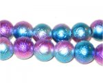 12mm Drizzled Purple / Turq Coated Bead, approx. 18 beads