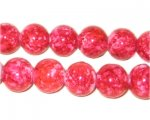 12mm Marble-Style Red Glass Bead