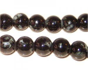 10mm Marble-Style Black Bead, approx. 22 beads