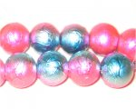 "12mm Drizzled Fuchsia / Turq Coated Bead, 8"" string"