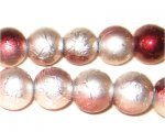 "12mm Drizzled Copper / Silver Glass Bead, 8"" string"