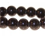 "12mm Marbled Black Coated Glass Bead, 8"" string"