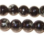 12mm Marble-Style Black Glass Bead, approx. 18 beads