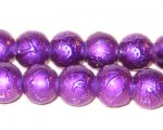 "12mm Drizzled Violet Glass Bead, 8"" string"