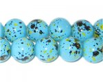 12mm Marble-Style Turquoise Spot Bead, approx. 18 beads