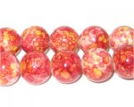 12mm Marble-Style Red Glass Bead, approx. 18 beads