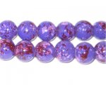 10mm Marbled Purple Spot Coated Glass Bead, approx. 22 beads