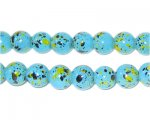 8mm Marble-Style Turquoise Spot Bead, approx. 52 beads