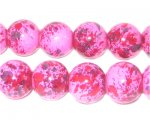 12mm Marble-Style Pink Spot Glass Bead, approx. 18 beads