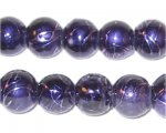 "12mm Drizzled Dark Purple Coated Glass Bead - 8"" string"