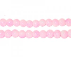 6mm Marble-Style Pink Glass Bead, approx. 72 beads