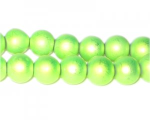 10mm Drizzled Apple Green Glass Bead, approx. 17 beads