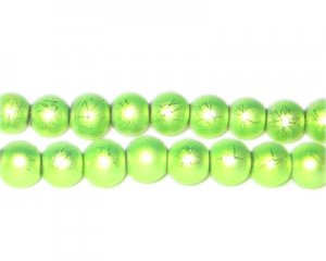 8mm Drizzled Apple Green Glass Bead, approx. 52 beads