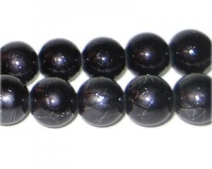 12mm Drizzled Charcoal Bead, approx.18 bead
