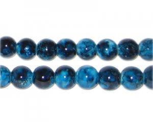 8mm Marble-Style Teal Glass Bead, approx. 52 beads