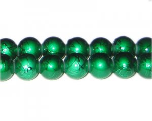12mm Drizzled Dark Green Bead, approx. 18 beads