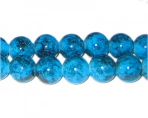 12mm Blue Marble-Style Glass Bead, approx. 18 beads