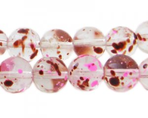 12mm Raspberry Swirl Season Glass Beads, approx. 18 beads