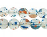 12mm Fire and Rain Season Glass Beads, approx. 18 beads