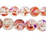 12mm Violet Flame Season Glass Beads, approx. 18 beads