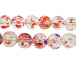 10mm Violet Flame Season Glass Beads, approx. 22 beads