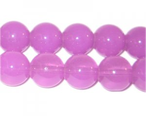 12mm Violet Jade-Style Glass Bead, approx. 18 beads