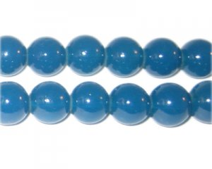 10mm Petrol Blue Jade-Style Glass Bead, approx. 21 beads