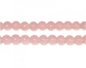 6mm Dusty Pink Jade-Style Glass Bead, approx. 77 beads