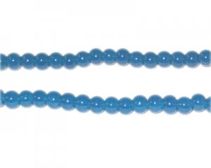 4mm Petrol Blue Jade-Style Glass Bead, approx. 105 beads
