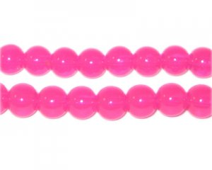 8mm Hot Pink Jade-Style Glass Bead, approx. 55 beads