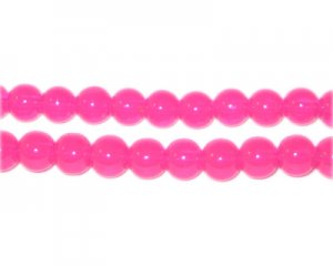 6mm Hot Pink Jade-Style Glass Bead, approx. 77 beads